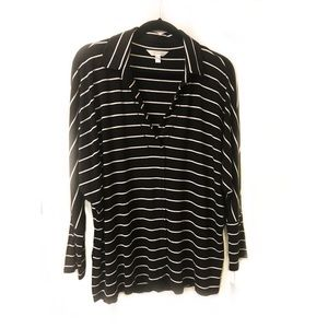 Time and Tru Black Stripe KnIt Pullover